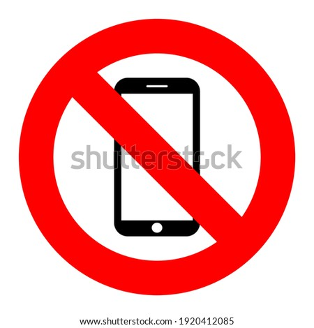 Sign prohibiting the use of the phone here. Vector eps 10 Foto stock ©