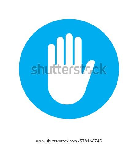 sign push hand blue icon