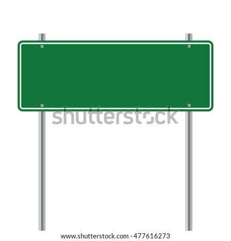sign road green Blank  vector illustration