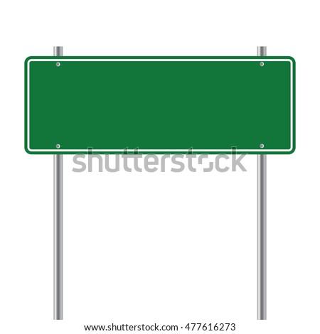 sign road green Blank  vector illustration
