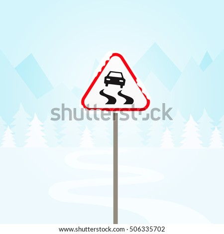 sign road winter