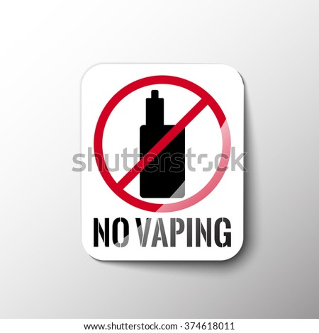 Sign, sticker, which prohibits smoking electronic cigarettes. Stock vector.