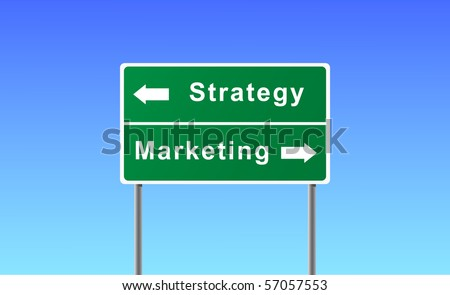 Sign strategy marketing on sky background. - stock vector