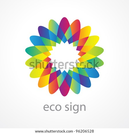 Sign - the environment. A stylized flower with multicolored petals - a symbol of harmony, purity, peace, love and happiness. Vector.