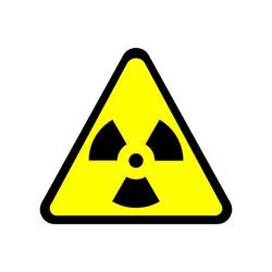 Sign toxic. Warning radioactive zone in triangle icon isolated on white background. Color radioactivity image. Dangerous radiation area symbol. Chemistry poison plane mark. Stock vector illustration