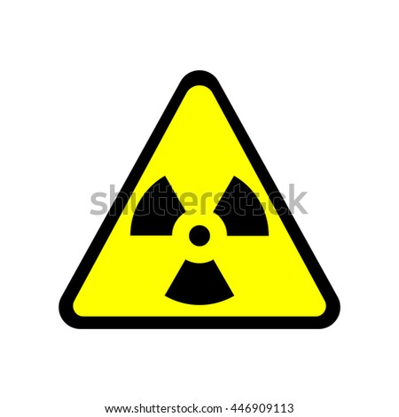 Stock Photo Sign toxic. Warning radioactive zone in triangle icon isolated on white background. Color radioactivity image. Dangerous radiation area symbol. Chemistry poison plane mark. Stock vector illustration