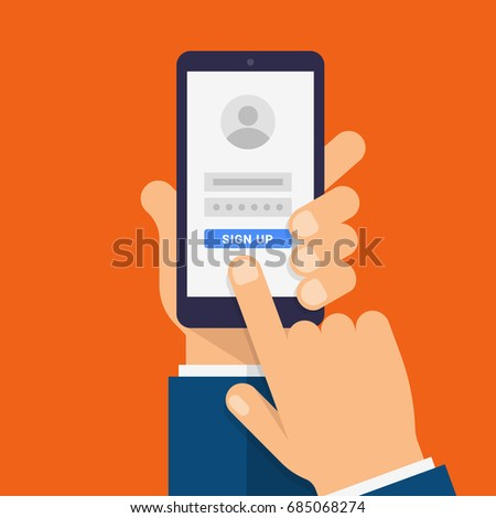 Sign up page on smartphone screen. Hand holds the smartphone and finger touches screen. Modern Flat design illustration.
