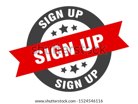 sign up sign. sign up black-red ribbon sticker