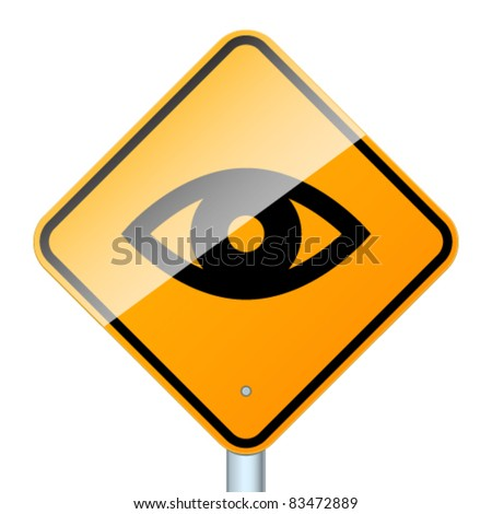 Sign warring about road video surveillance isolated in white background