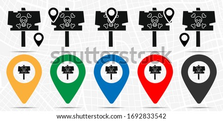 Sign with a skull icon in location set. Simple glyph, flat illustration element of halloween theme icons