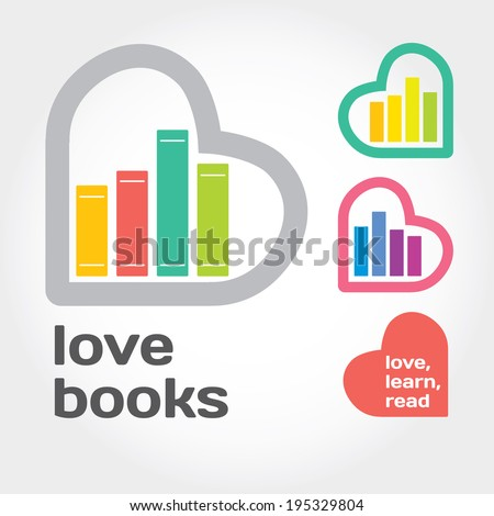 sign with books and hearts