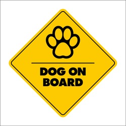 Sign with inscription dog on board concept with paw print
