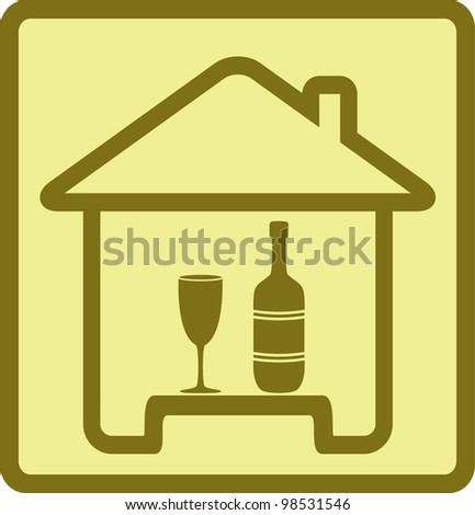 sign with isolated bottle, wineglass and house silhouette