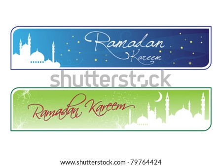 Signage Ramadan Kareem Greeting with Mosque Illustration in Vector