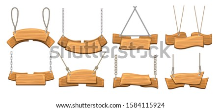 Signage with ropes. Cartoon antique wood signboards, rustic planking directions signs vectorcollection, vintage hanging timber banner boards isolated on white background