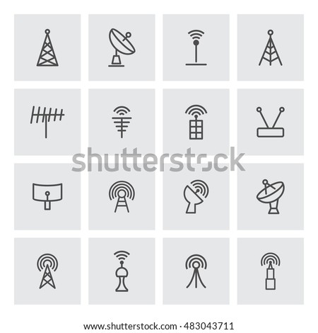 Signal and radio tower vector objects