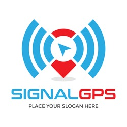 Signal gps vector logo template. This design use wifi symbol. Suitable for direction.
