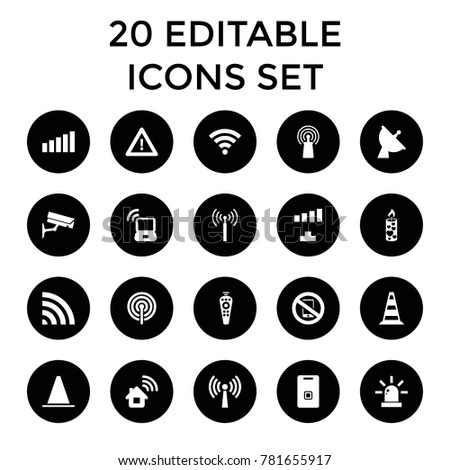 Signal icons. set of 20 editable filled signal icons such as home connection, warning, candle, satellite, remote control, wi-fi. best quality signal elements in trendy style.