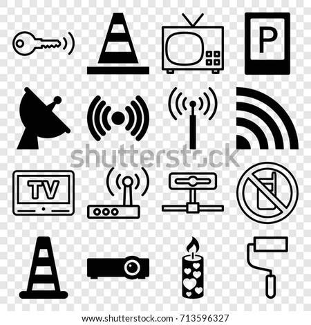 Signal icons set. set of 16 signal filled and outline icons such as parking, cone barrier, cone, candle, satellite, router, no phone, roller, tv, key