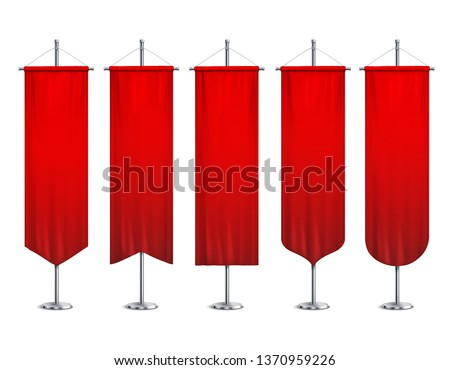 Signal red long sport advertising pennants  banners samples on pole stand support pedestal realistic set vector illustration