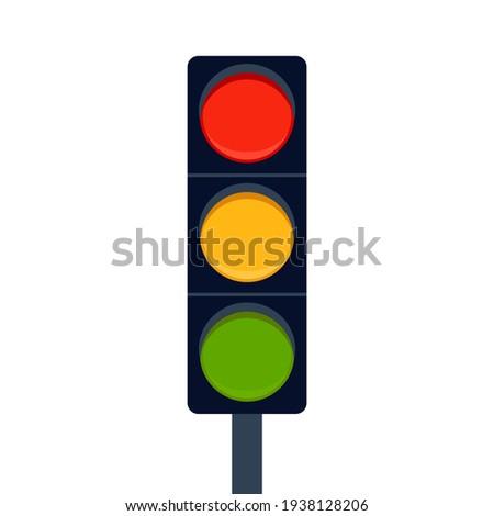 Signal traffic light on road, stoplight. Direction, control, regulation transport and pedestrian. Vector illustration