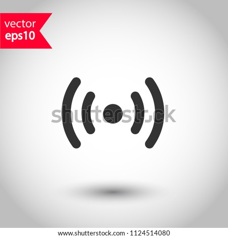 Signal vector icon. Broadcasting signal wave icon. Antenna frequency wave vector icon. Wifi sign. EPS 10 vector sign. Studio background.