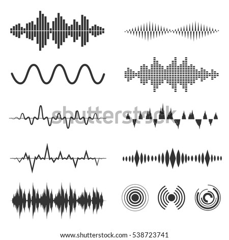 Signal wave set. Vector analog signals and digital sound waves forms. Amplitude audio wave illustration