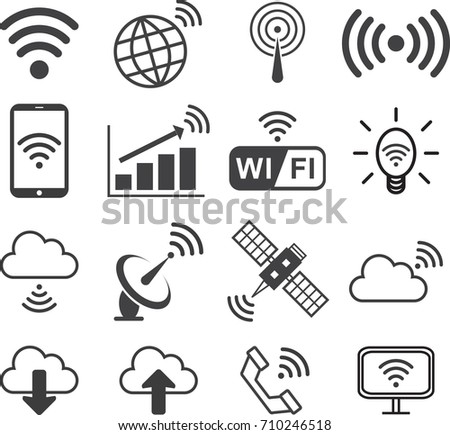 Signal wireless icon set, flat icon, Vector illustration EPS10.