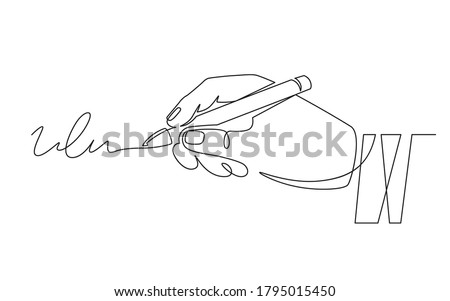 Signature and hand. Document signing, hand with pen signed contract. Person authentication, autograph, deal continuous line vector concept. Signature document pen, contract agreement illustration
