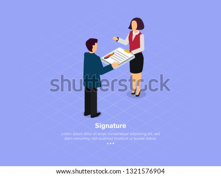 Signatures Are Proof of The Project That has Been Dealt With. Signature Concept. 3d Isometric Vector Illustration.