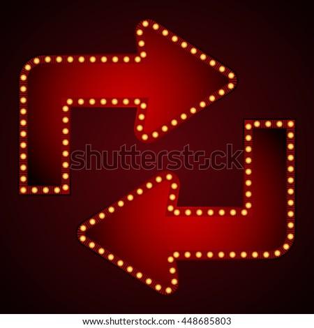 Signboard arrow for text with light bulbs. Vector illustration