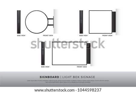 Signboard Blank Round, Square, Rectangle lightbox signage Mockup Template Mounted on the Wall. vector illustration