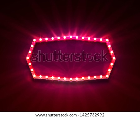 Signboard frame with light bulbs the bright background. Vector illustration #1425732992