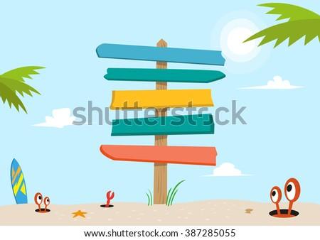 Signboard on a beach concept. Editable Clip Art.