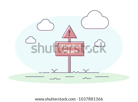 signboard with exclamation mark