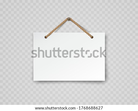 Signboard with rope isolated on transparent background. White blank retail frame. Open, welcome or closed banner on shop door. Entrance store element design Stockfoto ©