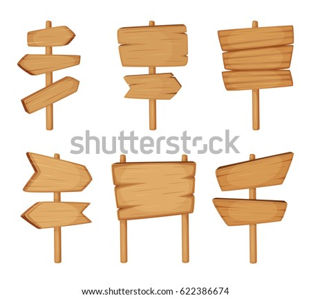 Signboard with wood texture. Vector set of Wooden arrows and empty road direction signs. Wooden signboard, illustration of wooden arrow plank