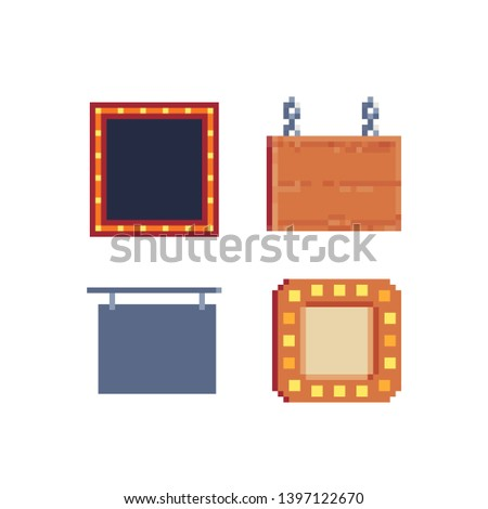 Signboards, pixel art icons set, wooden blank signboard hanging with chains, signboard with light bulbs, isolated vector illustration. 8-bit. Design for stickers, logo, app.