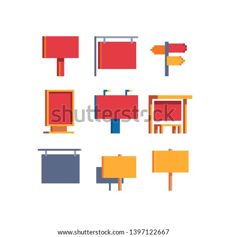 Signboards, pixel art set, billboard, banner, street road sign boards, advertisement, mockup signage direction city signpost location street arrow way. Isolated vector. Design for logo and app.