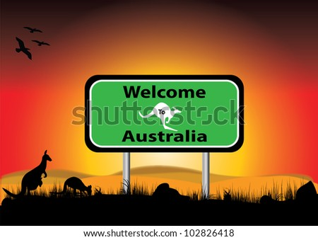 signe of welcome to Australia with  sunset background