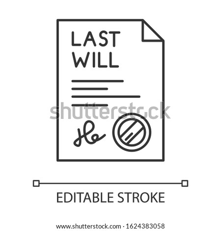 Signed last will pixel perfect linear icon. Document with stamp. Notarized testament. Legal paper. Thin line customizable illustration. Contour symbol. Vector isolated outline drawing. Editable stroke