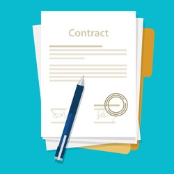 signed paper deal contract icon agreement  pen on desk  flat business illustration vector