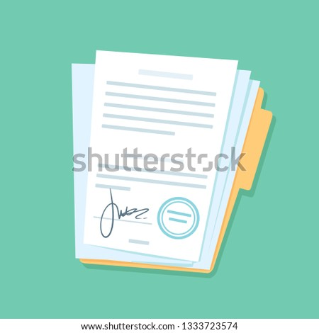 Signed paper documents. Manual signature on important office papers, stamped documentation files in files folder. Contract conditions, research approval validation document vector illustration