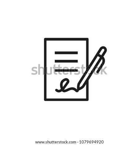 Signing contract icon.  Report, letter, will. Deal concept. Can be used for topics like business, education, correspondence