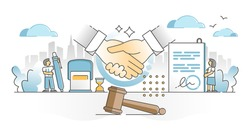 Signing contract moment scene with legal document, gavel and handshake elements outline concept. Decision to accept agreement, deal or partnership offer from business perspective vector illustration.