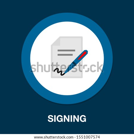 signing contract. vector sign contract illustration, business agreement signature - office icon