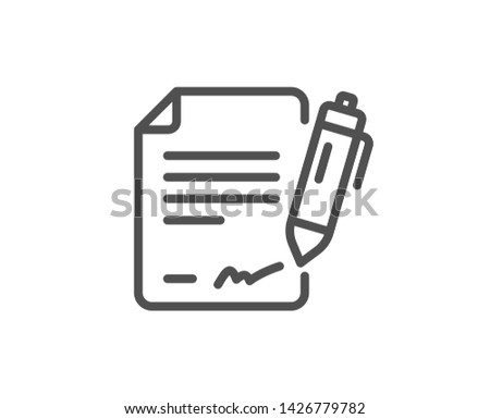 Signing document line icon. Contract signature sign. Agreement file symbol. Quality design element. Linear style signing document icon. Editable stroke. Vector