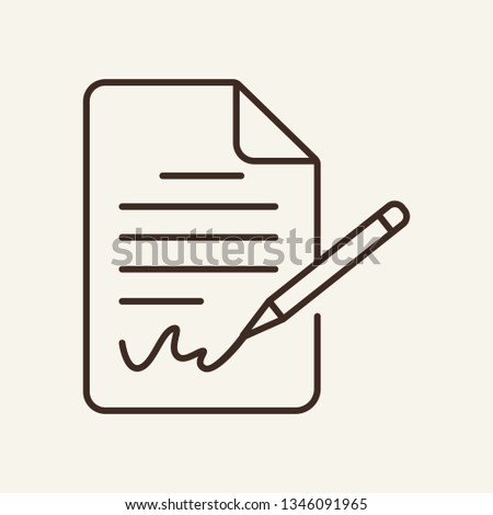 Signing document line icon. Paper document with signature and pen. Documents concept. Vector illustration can be used for topics like office, documentation, agreement