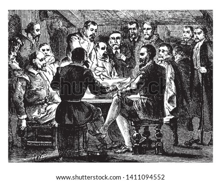 Signing of the Compact between saints and the strangers inside the Mayflower,vintage line drawing or engraving illustration.