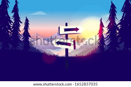 Signpost in wilderness with arrows pointing right and left. Landscape with sunrise, mountains and forest. Decision making, choose direction and life choices concept. Vector illustration.